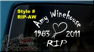 IN MEMORY OF Amy Winehouse RIP VINYL DECAL STICKER