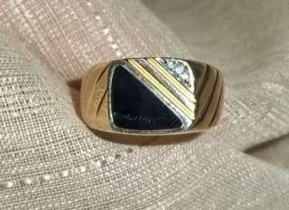 10k yellow gold black onyx diamond accent ring sz 11