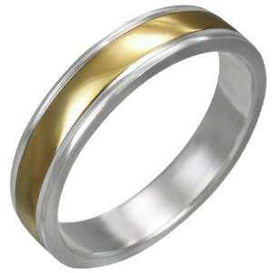 Mission Stainless Steel 2 Tone Gold Plate Ribbed Band Ring