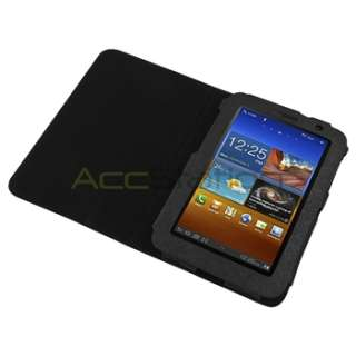 Black Leather Skin Case Cover+2x Screen Protector For Samsung Galaxy