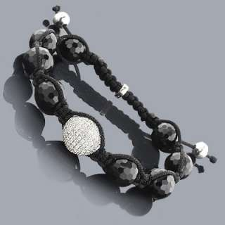 Disco Ball Style Bracelet with Black Crystal Beads 8 Crystals