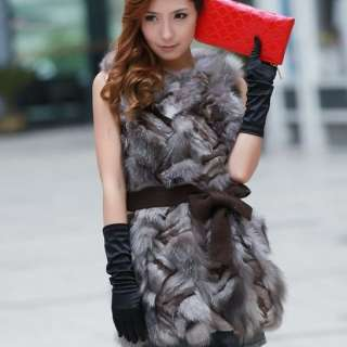 wholesale High Quality Real Fox Fur Embellished Vest Coffee
