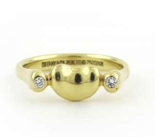 Tiffany&Co Authentic Elsa Peretti 750 18k Gold Diamond Heart Bean Ring