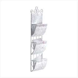 WROUGHT IRON WALL MAIL RACK  3 POCKET LETTER ORGANIZER