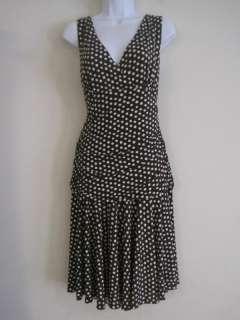 Scarlett Womens Brown White Stretch Polka Dot Dress 14
