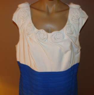 ADRIANNA PAPELL WHITE FLOWERS BLUE COCKTAIL DRESS 18W
