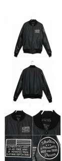 NWNT Mens Military Bomber Jacket Leather sleeve Jacket Vintage