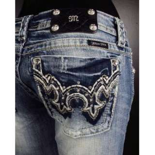 NWT MISS ME JEANS Boot Cut WHIP STITCHED DOUBLE FLEURS with Crystals