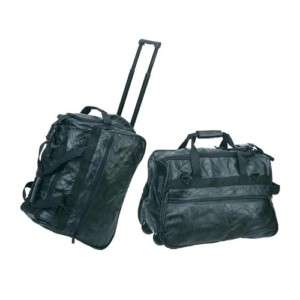 Two   20 Genuine Leather Wheeled Leather Luggage Bag