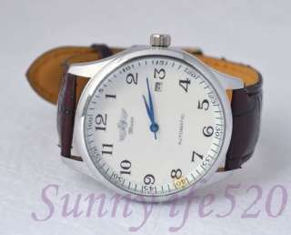 Simple White Dial Arabic Brown Leather Auto Mechanical Men Lady Wrist