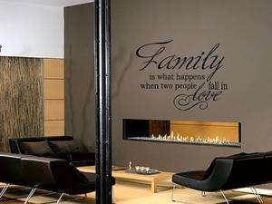 FAMILY IS WHAT HAPPENS WHEN Vinyl Wall Decal Words Lettering Quote