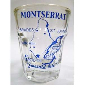 Montserrat Vintage Map Outline Shot Glass: Kitchen & Dining