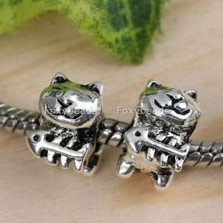 5Pc Tibetan Silver Cat*Fish Spacer Charm European Bead