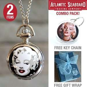 Watch Necklace Chain Jewlery with Marilyn Monroe Key Chain    COMBO