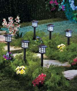 Set 6   Solar Lighted Lantern Stake Path Walkway Outdoor Lights Lawn