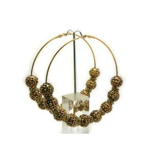Gold Lady Gaga Paparazzi Basketball Wives Earring with Iced Out Mini