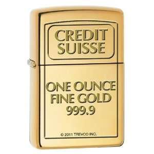 Zippo Custom Lighter   Credit Suisse Gold Bar Engraved High Polish