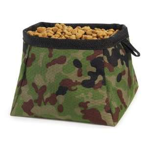 Cruising Companion Green Camouflage Folding Travel Food & Water Dog