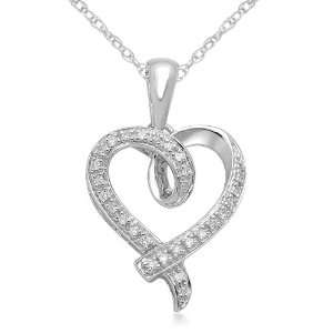 10K White Gold Heart Diamond Pendant (0.07 Cttw, I J Color