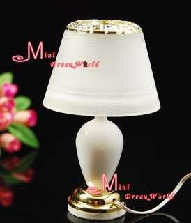 Dollhouse Miniature White Golden Carving Desk Light 12V
