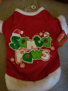 SIMPLY WAG Red Shirt SANTA PAWS Puppy/Dog Christmas Small