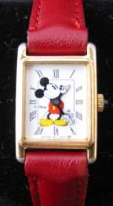 Lorus Quartz Gold Red Leather Band Mickey Mouse Watch Japan Movement