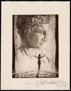 Bookplate Etching German Artist WALTER HELFENBEIN 1923