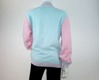 Queen of Evil   E.vil Cashmere Varsity Sweater Jacket Light Blue /Pink