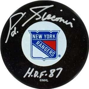 Eddie Giacomin New York Rangers Autograph Puck w/ HOF 87 Insc
