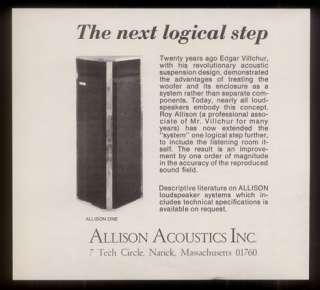 1979 Allison Acoustics Allison One speaker loudspeaker photo print ad