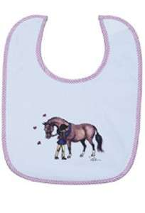 Girls Western Horse Pony Love Pink White Barn Baby Bib Cowgirl Gift