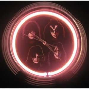 KISS Army Rock Band Four Faces Concert Album Neon Clock