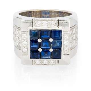 LEO PIZZO 18K WHITE GOLD DIAMOND AND BLUE SAPPHIRE RING