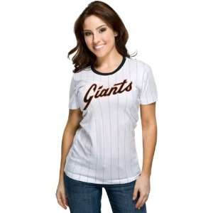 San Francisco Giants Womens Nike White Cooperstown Pinstripe T Shirt