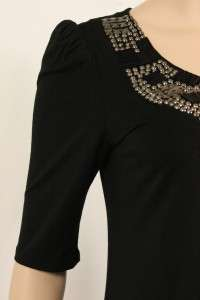 NEW ANDREA BEHAR BLACK VISCOSE BEADED DRESS TUNIC L