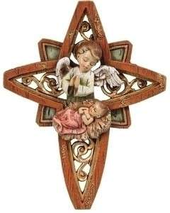 Precious 6.5H Baby Jesus with Angel Christmas Star Plaque