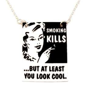 Kitsch Retro Smoking Kills Necklace (18 inch chain)   Gold plated base