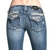 NWT MISS ME Boot Jeans Crystal Leather Angel Wings