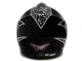 BLACK/PINK BUTTERFLY DIRT BIKE ATV MOTOCROSS OFF ROAD DOT HELMET MX ~M