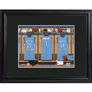 Carolina Tarheels Personalized College Basketball Locker Room Print