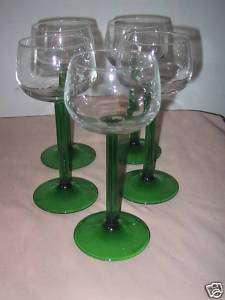 Cris DArques/Durand EMERALD Green Rhine Wine Goblets