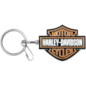 Davidson Bar & Shield Metal Key Chain   Black & Orange Automotive