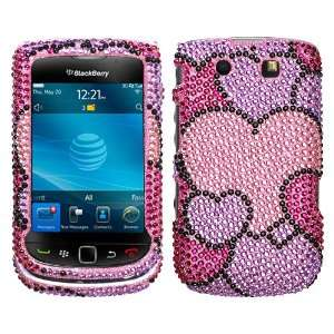 BlackBerry Torch 9800 Hot Pink Diamond Hearts Crystal Snap