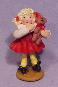 Artist Miniature Sculpey Girl & Teddy Bear   Too Cute