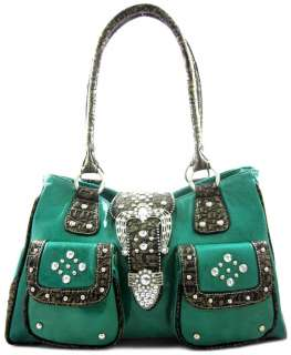 Cowgirl Rhinestone Bling Belt Buckle Front Pockets Purse Bag Turquoise