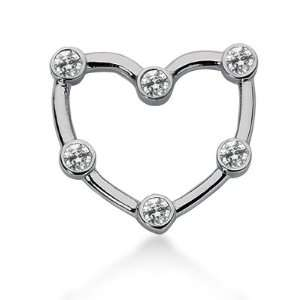 Heart Pendant Round Cut Bezel 14k White Gold Chain DALES Jewelry
