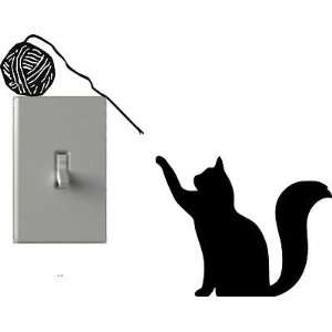 Cat Playing Yarn   Light Switch Decals   Custom Vinyl Wall Art   Made