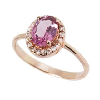 Natural 1.20 Ct. Pink Tourmaline 8K Rose Gold Plated Ring Accented