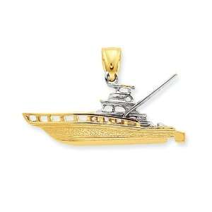 14k Gold Two tone 3 D Offshore Sport Fishing Boat Pendant Jewelry
