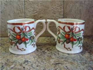 Lot of 2 Tiffany & Co Garland Christmas Holiday Coffee Mugs Cups